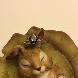Pandora silver sparkling blue crown ring